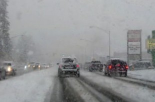cars driving on winter road